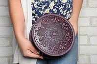"Стильная круглая кожаная сумочка ""Мандала"",  кожаная сумочка ручной работы, фото 1"