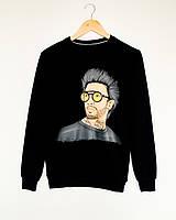 Прикольный модный свитшот для мужчин с оригинальным рисунком черный