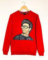 Прикольный модный свитшот для мужчин с оригинальным рисунком красный