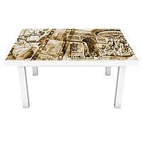 Виниловая наклейка на стол Европа (интерьерная ПВХ пленка для мебели) старая кинопленка ретро винтаж Бежевый 600*1200 мм