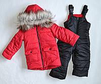Детский зимний комбинезон унисекс для девочек и мальчиков 2-4лет красного цвета