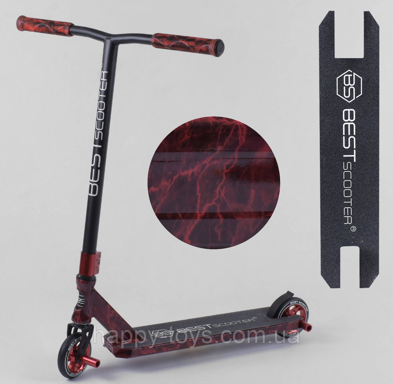 Самокат трюковый с Пегами Красный с Принтом Best Scooter 20001, HIC-система, алюминиевый диск, колёса PU 11 см