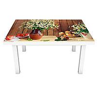 Виниловая наклейка на стол Полевые Ромашки (интерьерная ПВХ пленка для мебели) букет доски натюрморт Коричневый 600*1200 мм