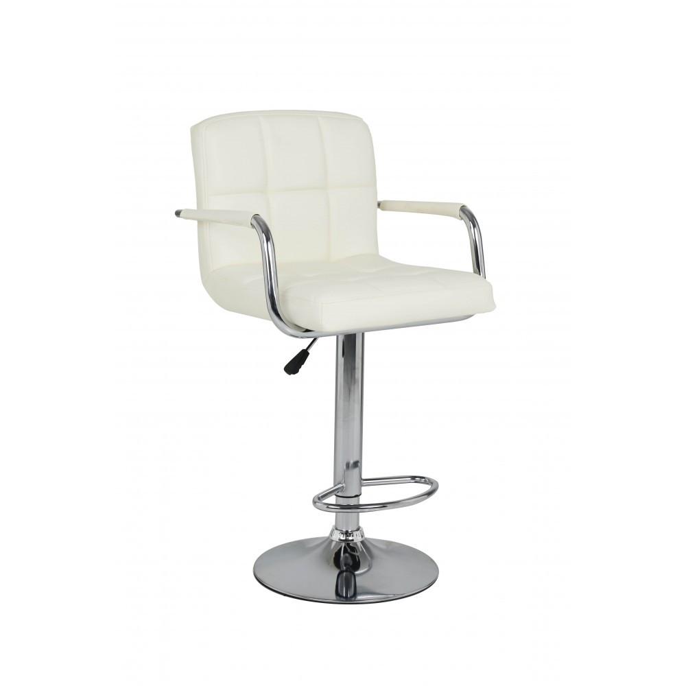Барный стул хокер металический с нагрузкой до 120 кг мягкий с подлокотниками бежевый