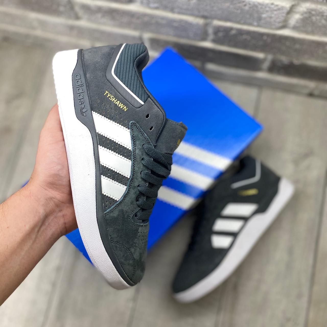 Чоловічі кросівки Adidas Tyshawn Сірі замшеві , Репліка
