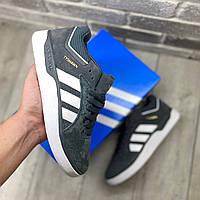 Чоловічі кросівки Adidas Tyshawn Сірі замшеві , Репліка, фото 1