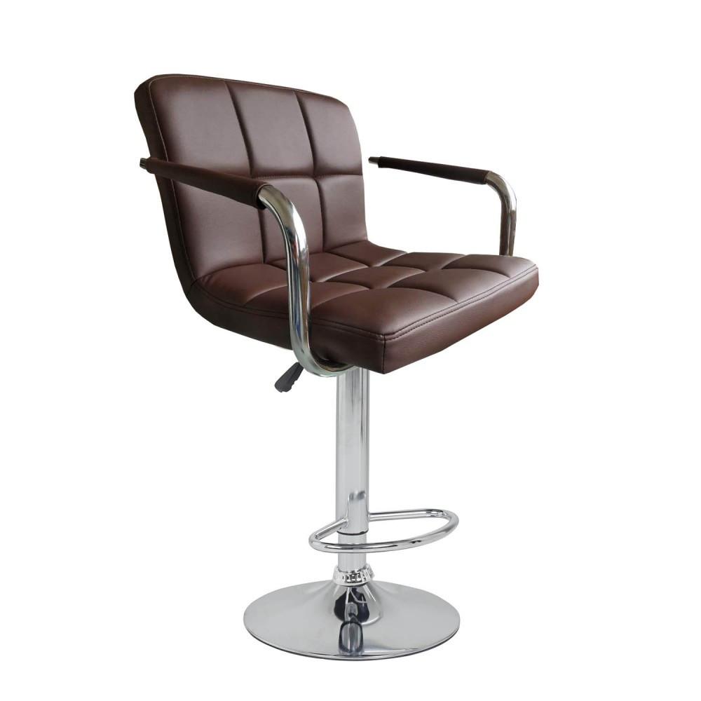 Барный стул хокер металический с нагрузкой до 120 кг мягкий с подлокотниками коричневый