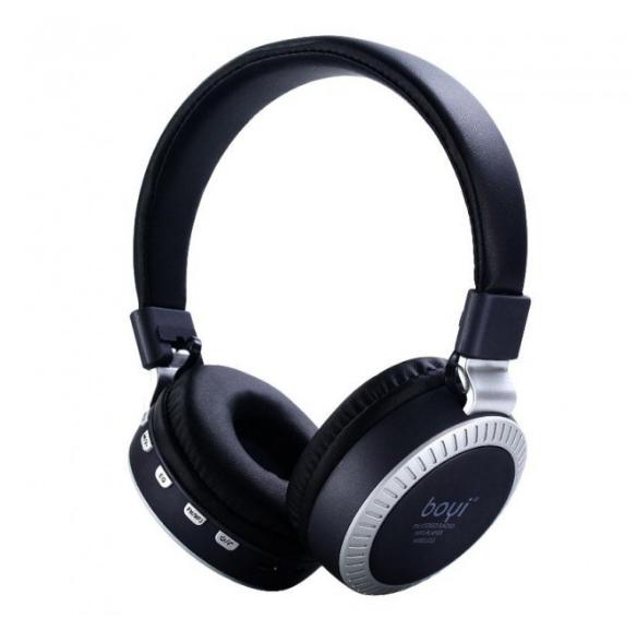 Беспроводные Bluetooth наушники BOYI 50 Karler Bass Bluetooth  + MicroSD + FM Радио black накладные