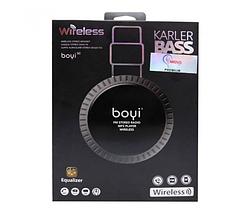 Беспроводные Bluetooth наушники BOYI 50 Karler Bass Bluetooth  + MicroSD + FM Радио black накладные, фото 2