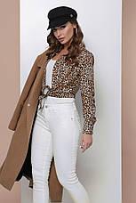 Блузка жіноча бежева річна з довгим рукавом. Тканина супер софт Повсякденний, офісні легка блуза, фото 3