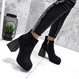 Женские демисезонные ботинки на толстом удобном каблуке со стразами, фото 3