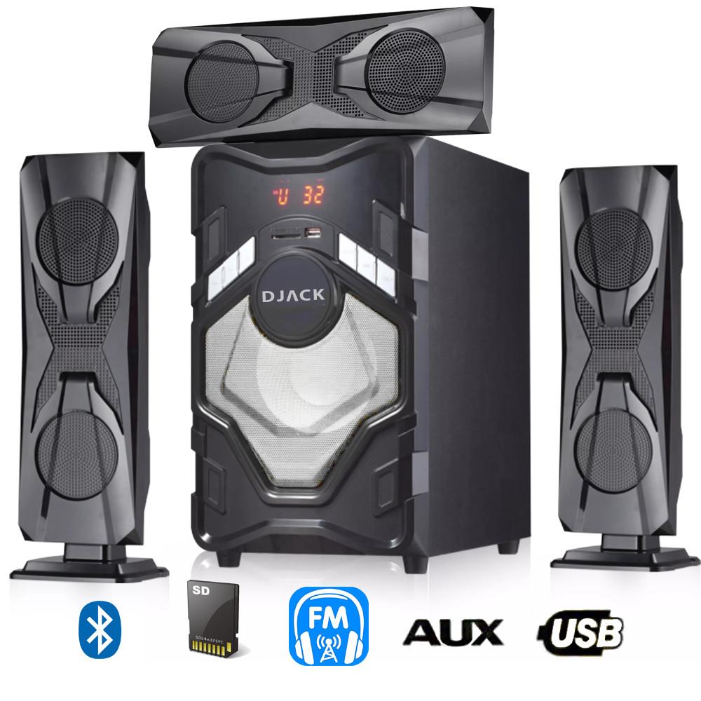 Акустическая система DJACK E-T3L Bluetooth акустика USB c FM радио музыкальный центр Черный