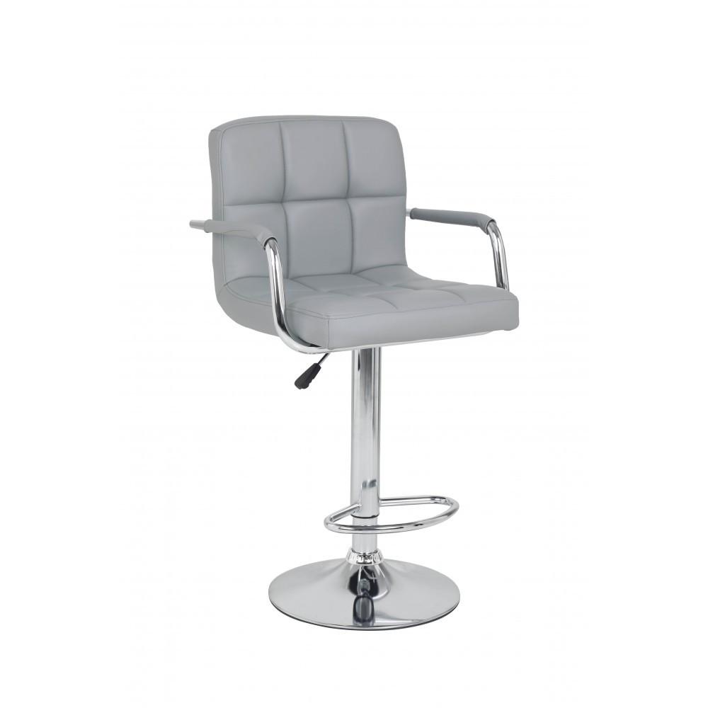 Барный стул хокер металический с нагрузкой до 120 кг мягкий с подлокотниками серый
