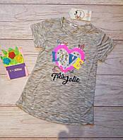 Футболка на девочку с пайетками Сердце и буквы 122-128см паетки, фото 1