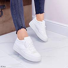 Кроссовки женские белые из эко кожи. Кросівки жіночі білі, фото 3