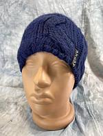 Шапка жіноча в'язана утеплена флісом темно-синя, фото 1