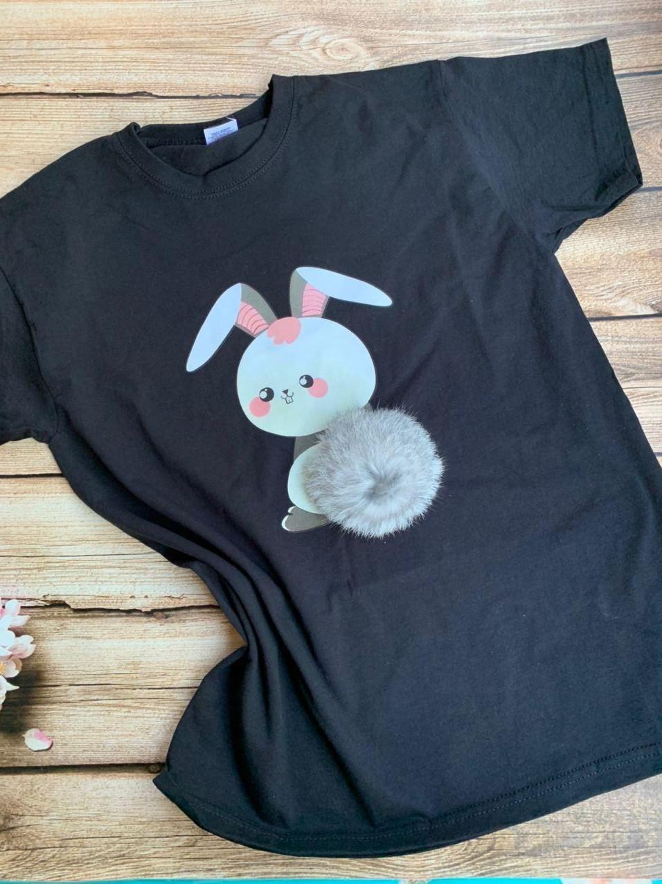 Распродажа футболка женская с принтом Зайчик.