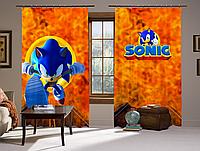 Шторы 3D Соник и огонь, комплект из 2-х штор