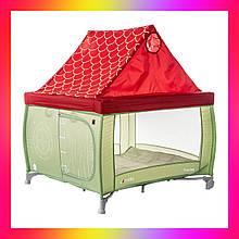 Детский квадратный манеж с прицепными кольцами и крышей Carello  Treviso CRL-11603 Cameo Green зеленый