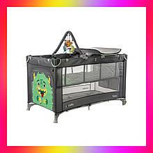 Детская манеж кровать с пеленальным столиком и 2 уровнями положения матраса CARRELLO Molto CRL-11604 Ash Grey