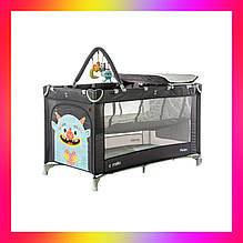 Детская манеж кровать с пеленальным столиком и 2 уровнями положения матраса CARRELLO Molto CRL-11604  серый