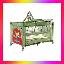 Детская манеж кровать с пеленальным столиком и 2 уровнями положения матраса CARRELLO Molto CRL-11604  зеленый