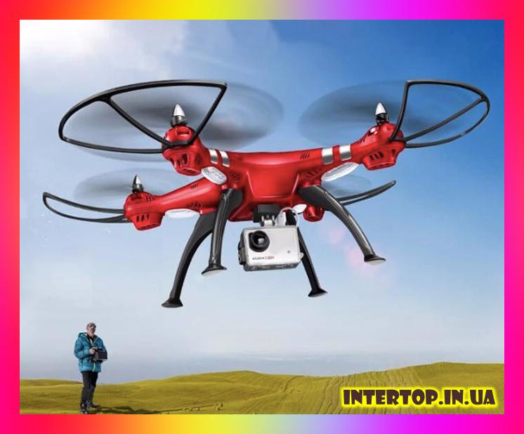 Квадрокоптер Syma X8HG з HD камерою 5 Мегапікселів 4CH 2.4 G . Дрон на пульті