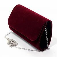 Вечерняя маленькая сумка-клатч Rose Heart 8729-1 велюровая бордовая мини на цепочке, фото 1
