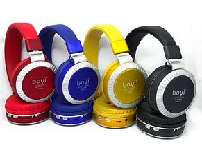 Беспроводные Bluetooth наушники BOYI 50 Karler Bass Bluetooth  + MicroSD + FM Радио black накладные, фото 3
