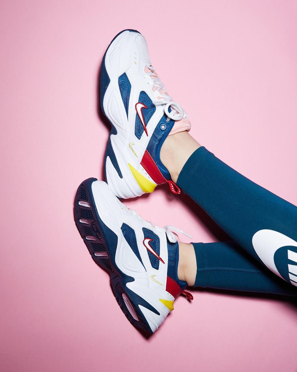Жіночі кросівки Nike Tekno M2K в стилі найк текно Білі/Сині (Репліка ААА+)
