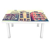 Виниловая наклейка на стол Утро в Венеции (интерьерная ПВХ пленка для мебели) разноцветные дома каналы Голубой 600*1200 мм