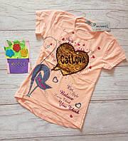 Футболка на девочку с пайетками Котик и сердечко 122 см Персик паетки, фото 1