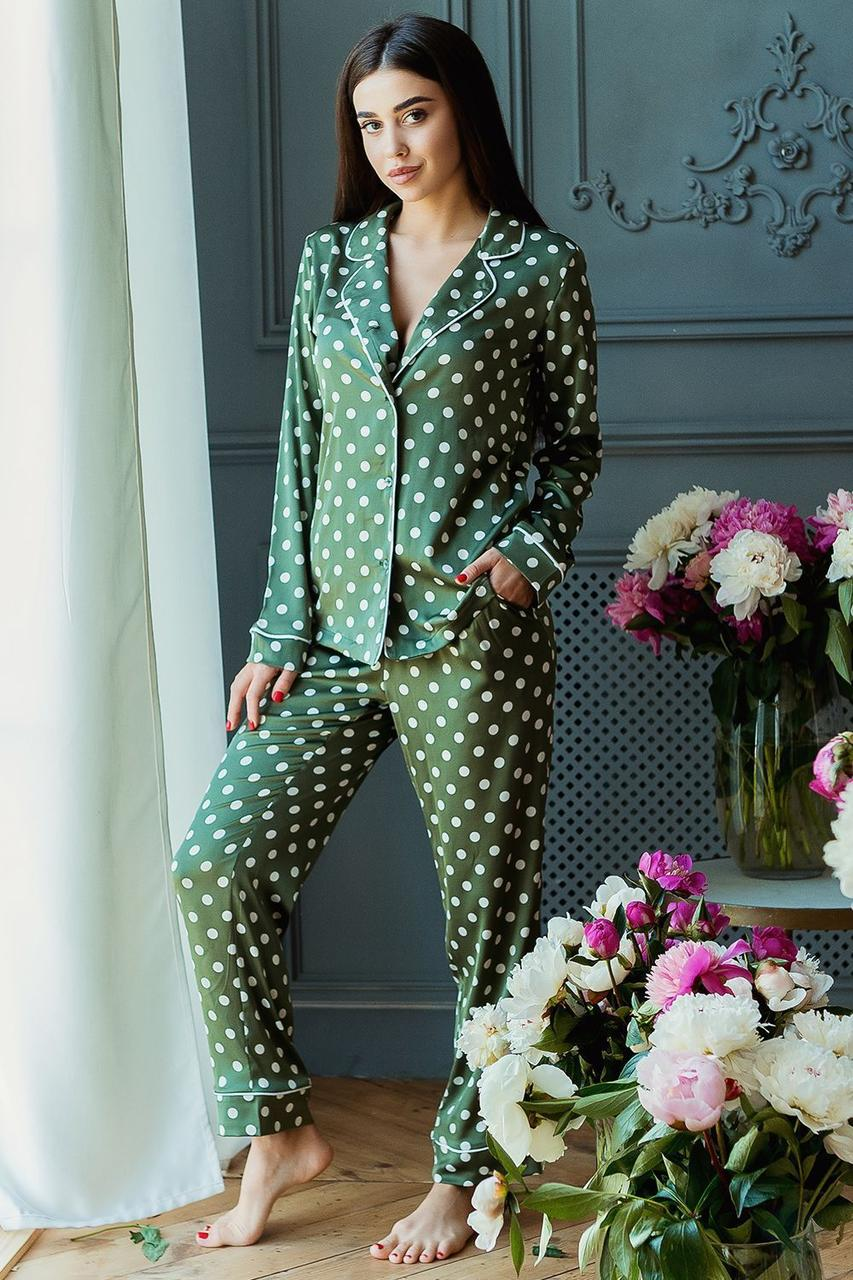 Пижама Кристи DONO (DPK3181, зелёный\белый горох)