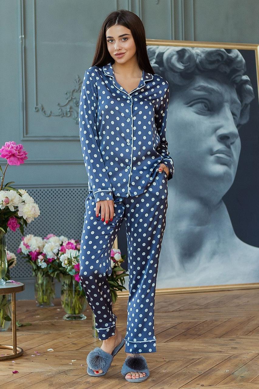 Пижама Кристи DONO (DPK3180, джинсовый\белый горох)