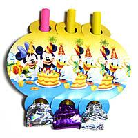 """Набір """"Язички - гудки карнавальні"""" (6 шт/уп.) - Міккі Маус і друзі , Жовтий"""