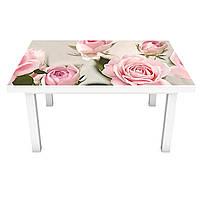 Виниловая наклейка на стол самоклеющийся Бутоны Розовые Розы (интерьерная ПВХ пленка для мебели) цветы