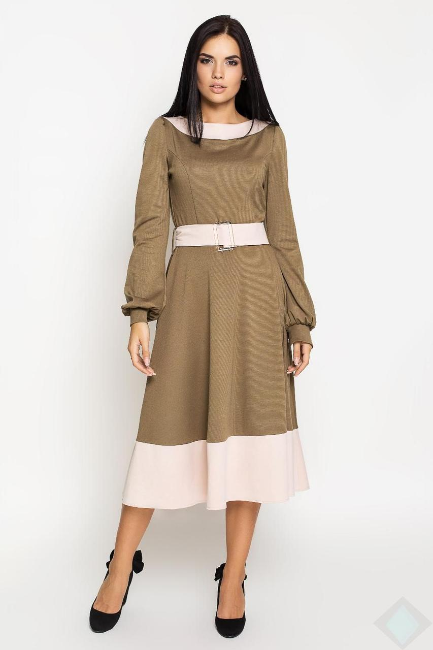 Платье миди с длинными рукавами  Эмилия Leo Pride (PE2850, хаки\беж)