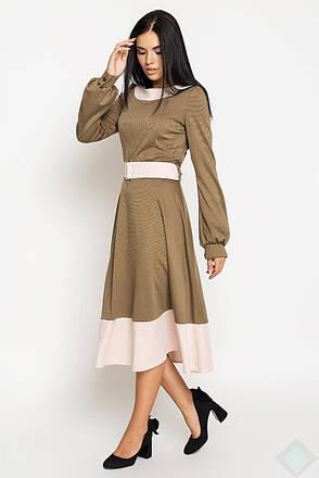 Платье миди с длинными рукавами  Эмилия Leo Pride (PE2850, хаки\беж), фото 2