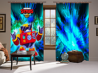 Штори 3D Бравл Старс Вольт, комплект з 2-х штор Brawl Stars, фото 1
