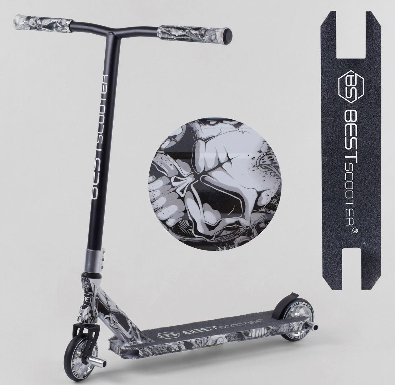 Самокат трюковый 93215 Best Scooter HIC-система, ПЕГИ, алюминиевый диск и дека, колёса PU, d=110мм