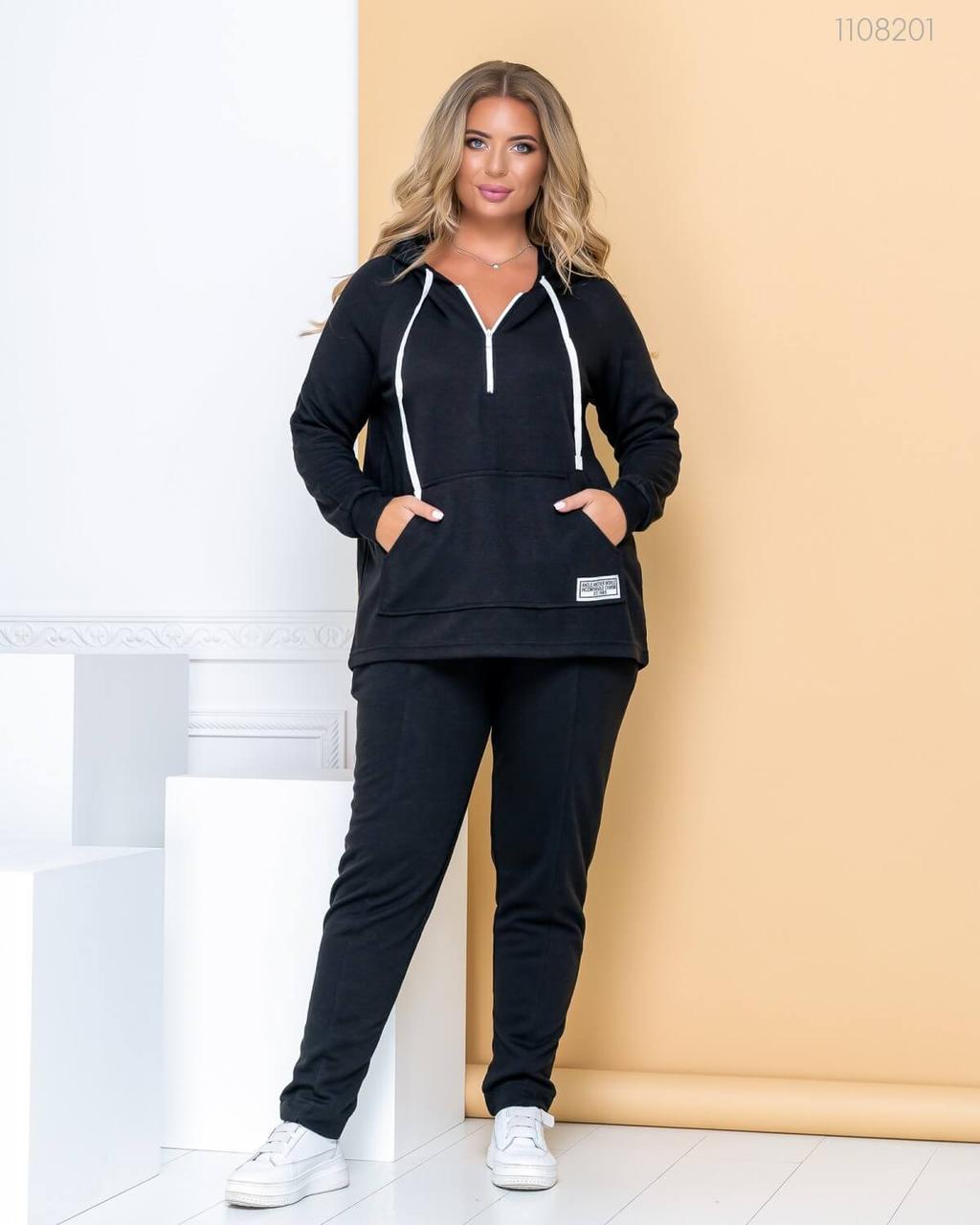 Р. 50-56 Тёплый спортивный костюм №20  (чёрный) 50
