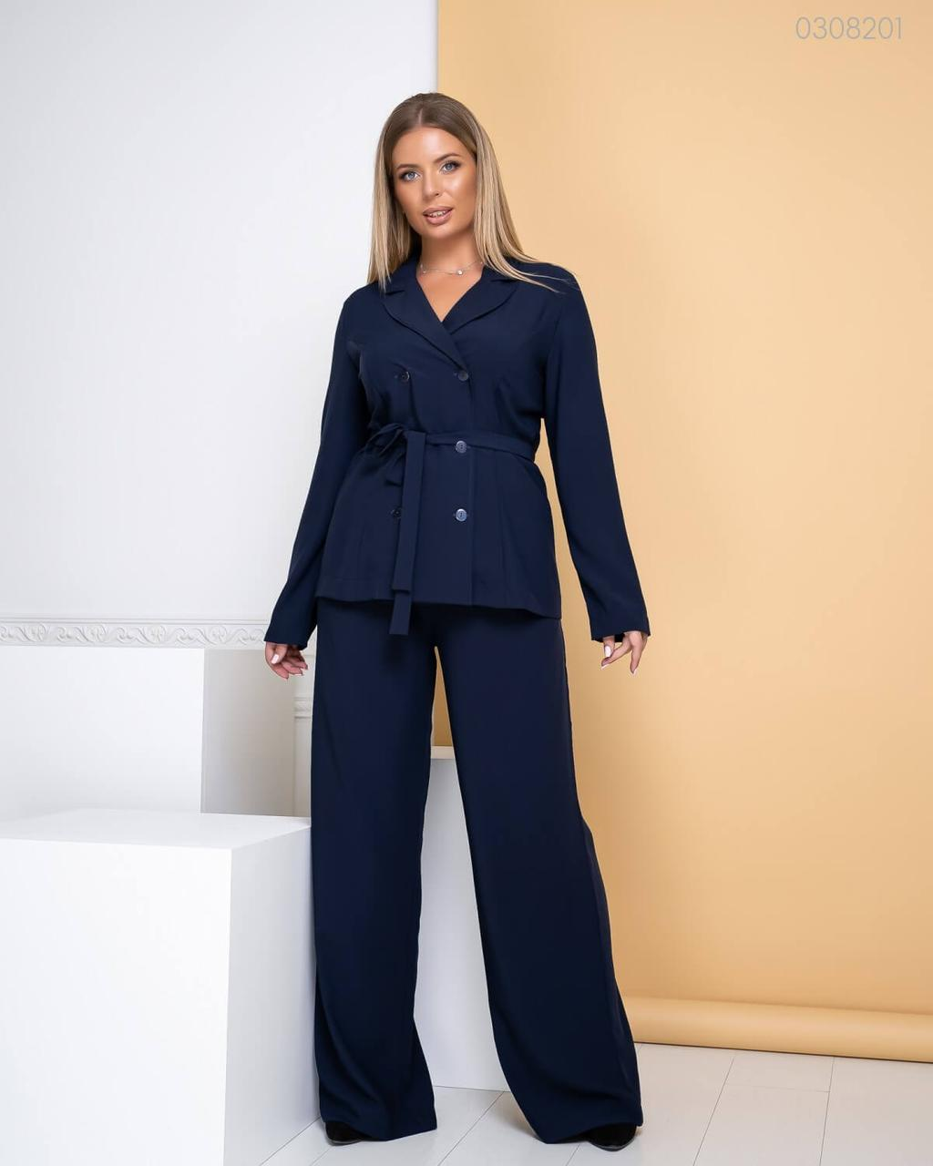 Р. 48-54 Женский деловой костюм Амстердам с широкими брюками батал (синий)