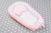 Кокон для новорожденных малышей с рисунком Розовые короны
