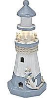 Светодиодный декоративный маяк на батарейках деревянная статуэтка LED ideen welt 25см. Германия