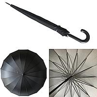 """Семейный зонт-трость c большим куполом на 16 карбоновых спиц от """"Flagman"""", черный, F737, фото 1"""