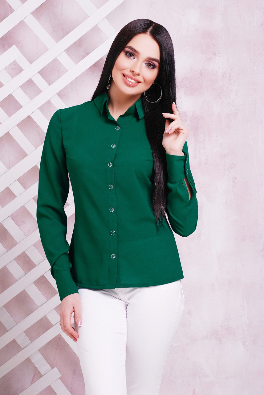 Блузка жіноча зелена річна з довгим рукавом. Тканина креп шифон Повсякденний, офісні легка блуза