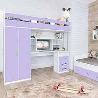 """Детская кровать-чердак с рабочей зоной, со шкафом """" Аракс """" Кровать чердак со столом для школьника 203*123*201"""