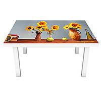 Виниловая наклейка на стол Подсолнухи в кувшинах (интерьерная ПВХ пленка для мебели) Цветы Голубой 600*1200 мм