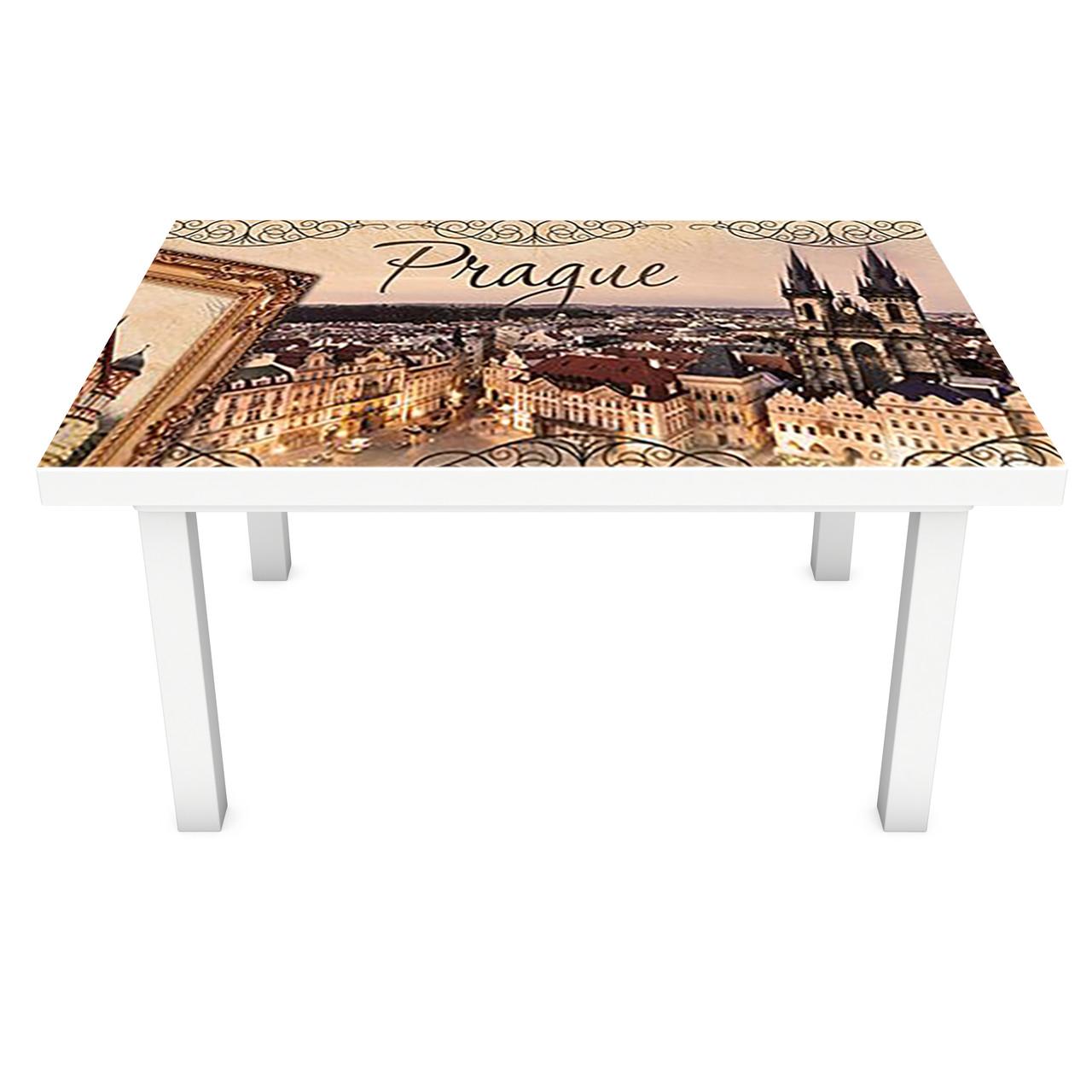 Виниловая наклейка на стол Прага (интерьерная ПВХ пленка для мебели) Винтаж Старинный город Коричневый 600*1200 мм