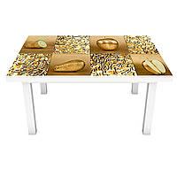 Виниловая наклейка на стол Золотые Фрукты (интерьерная ПВХ пленка для мебели) Золото Геометрия 600*1200 мм